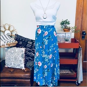 Vintage Floral Rayon Blue Button Down Maxi Skirt